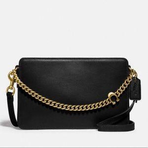 Coach Signature Chain Leather Crossbody Black Gold